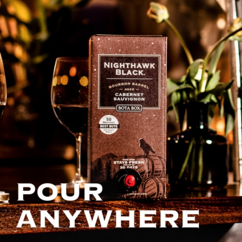 Bota Box Nighthawk Black Bourbon Barrel Cabernet Sauvignon Red Wine Perspective: left