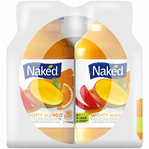 Naked Juice 100% Juice Fruit Smoothie Mighty Mango 4 Count Perspective: left