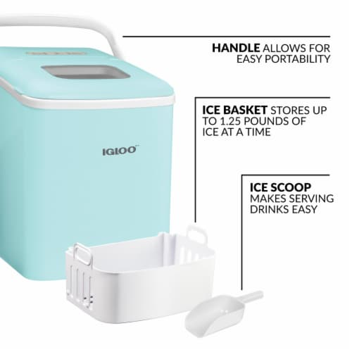 Igloo Automatic Self-Cleaning Portable Countertop Ice Maker with Handle - Aqua Perspective: left