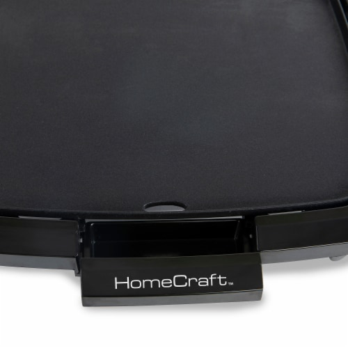 HomeCraft Non-Stick Griddle With Warming Drawer - Black Perspective: left