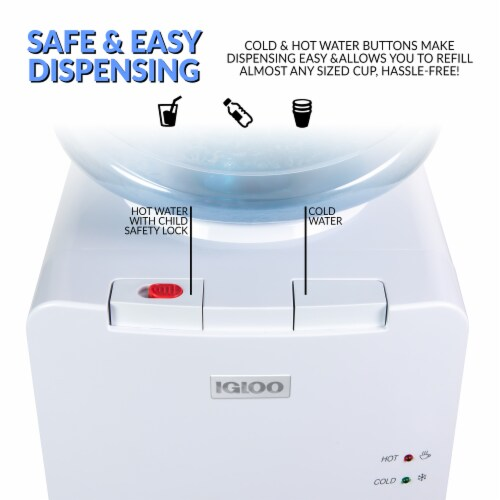 Igloo Hot & Cold Water Top Loading Water Dispenser - White Perspective: left