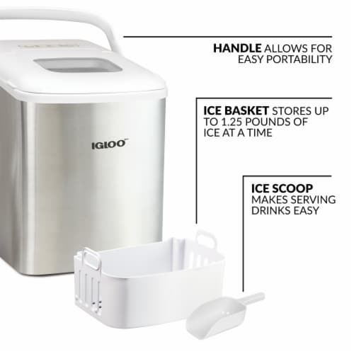Igloo 26-Pound Stainless Steel Portable Countertop Ice Maker Machine With Handle - Silver/White Perspective: left