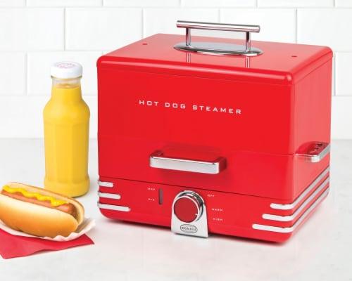 Nostalgia Large Diner Style Hot Dog Steamer Perspective: left