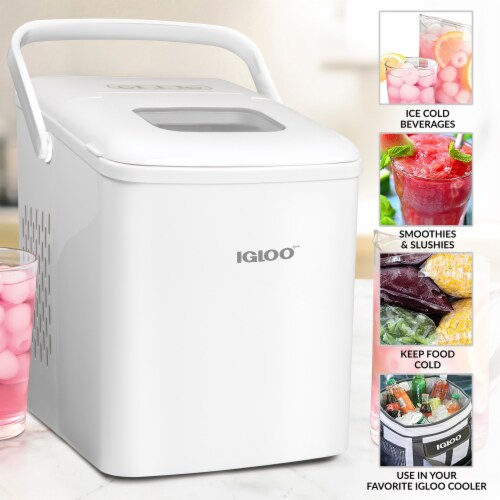 Igloo 26-Pound Automatic Self-Cleaning Portable Countertop Ice Maker Machine With Handle - White Perspective: left