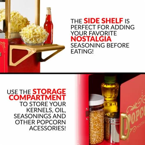 Nostalgia Red Vintage Commercial Popcorn Cart Perspective: left