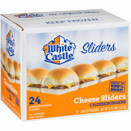 White Castle Cheese Sliders Cheeseburgers Perspective: left