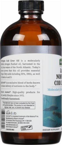 Nature's Answer Norwegian Cod Liver Oil Orange Flavored Dietary Supplement Perspective: left