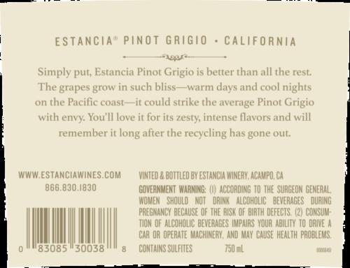 Estancia Pinot Grigio White Wine Perspective: left
