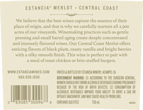 Estancia Merlot Red Wine Perspective: left