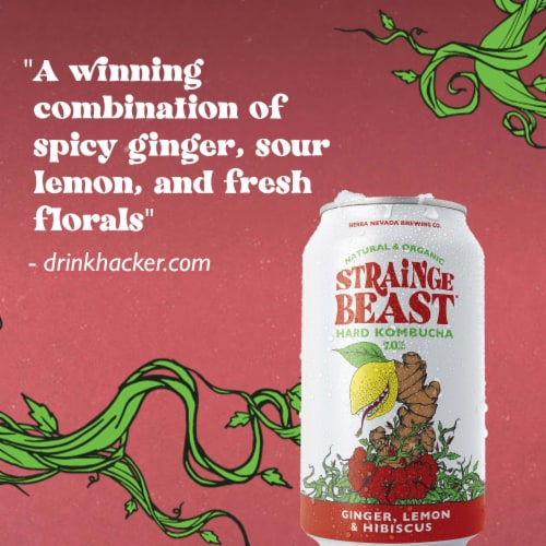 Strainge Beast Ginger Lemon & Hibiscus Hard Kombucha Perspective: left