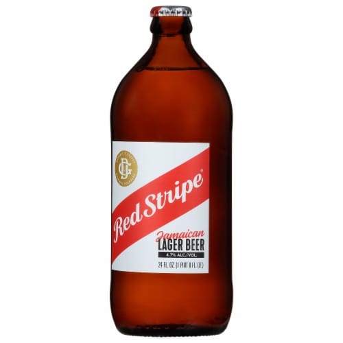 Red Stripe Jamaican Lager Beer Perspective: left