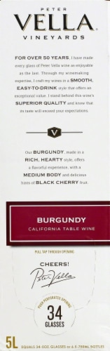 Peter Vella Burgundy Red Box Wine Perspective: left