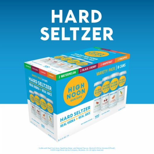 High Noon Vodka Hard Seltzer Mixed 8 Pack Single Serve 355ml Cans Perspective: left