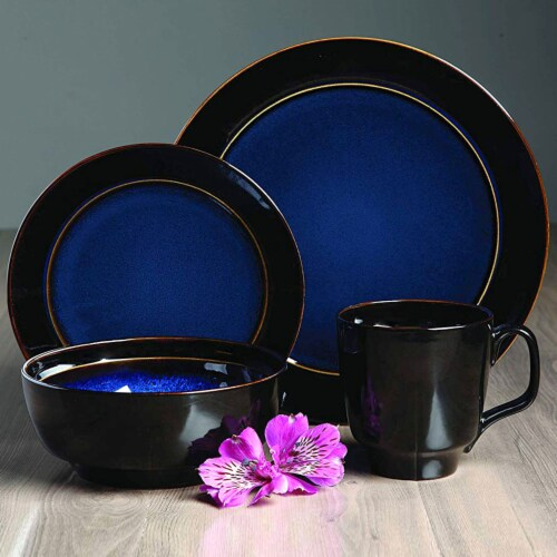 Gibson Elite Bella Galleria 16 Piece Dinnerware Set with Plates, Bowls, and Mugs Perspective: left