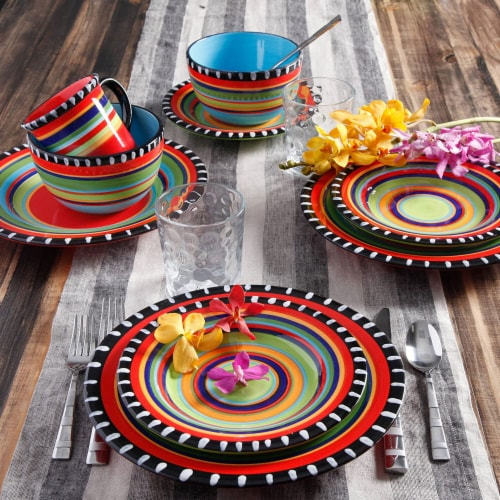 Gibson Elite 16 Piece Multi Color Glaze Dinnerware Set with Plates, Bowls & Mugs Perspective: left