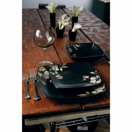 Gibson Elite Lanark 16 Piece Square Dinnerware Set with Plates, Bowls, & Mugs Perspective: left