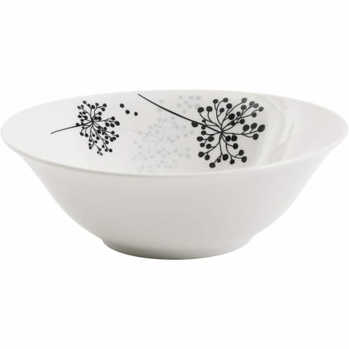 Gibson Netherwood 12 Piece Round Glaze Dinnerware Plates, Bowls, and Mugs, White Perspective: left