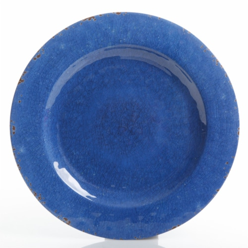 Gibson Studio California Mauna 12-Piece Durable Melamine Dinnerware Set, Blue Perspective: left