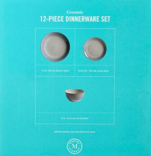Martha Stewart Reactive Dinnerware Set - White/Blue Perspective: left