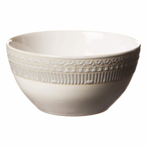 Gibson 16 Piece Reactive Glaze Dinnerware Set Plates, Bowls, and Mugs, Cream Perspective: left