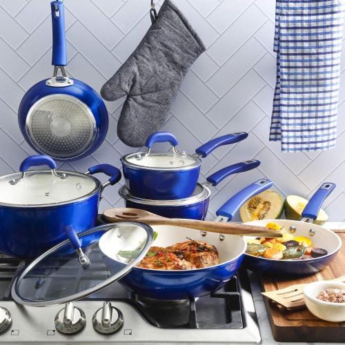 Kenmore Arlington 12 Piece Nonstick Ceramic Cookware and Accessory Set, Blue Perspective: left