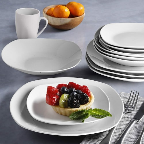 Gibson Porcelain 16 Piece Dinnerware Set Plates, Bowls, & Mugs, Classic Pearl Perspective: left
