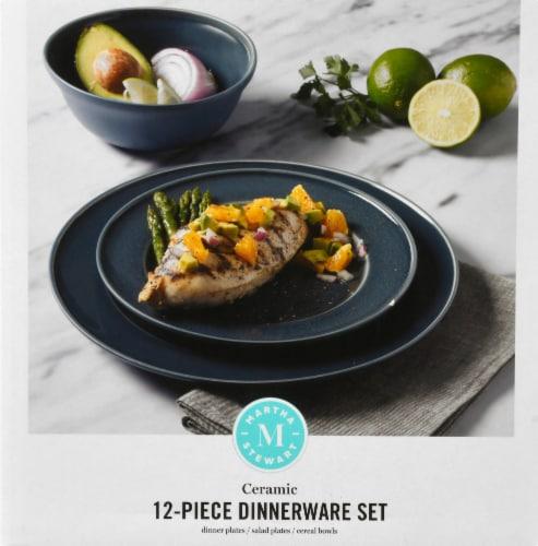 Martha Stewart Reactive Dinnerware Set - Blue Perspective: left