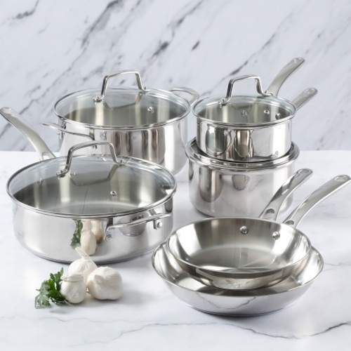 Martha Stewart Stainless Steel Cookware Set - Silver Perspective: left