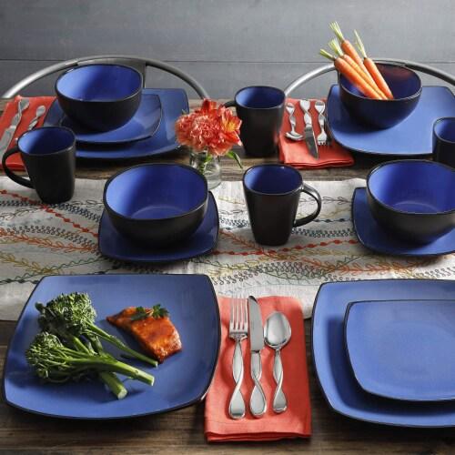 Gibson Elite Soho Lounge 16 Piece Plates, Bowls, & Mugs Dinnerware Set, Blue Perspective: left