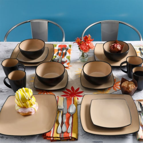 Gibson Soho Lounge 16 Piece Square Dinnerware Plates, Bowls, and Mugs Set, Taupe Perspective: left