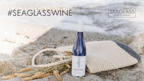 SEAGLASS Riesling White Wine 750mL Wine Bottle Perspective: left