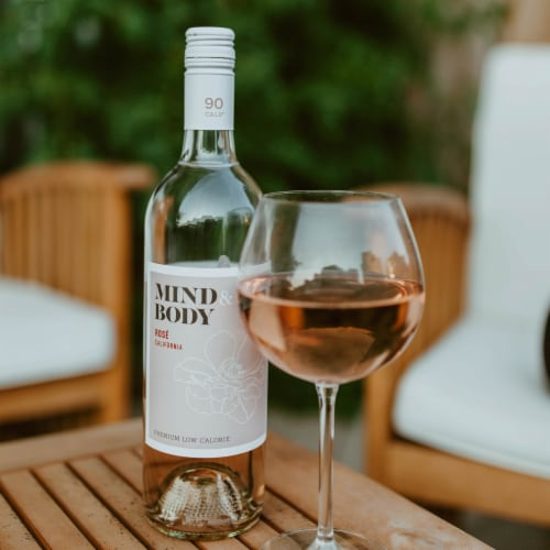 Mind & Body Low Calorie Rose Wine Perspective: left