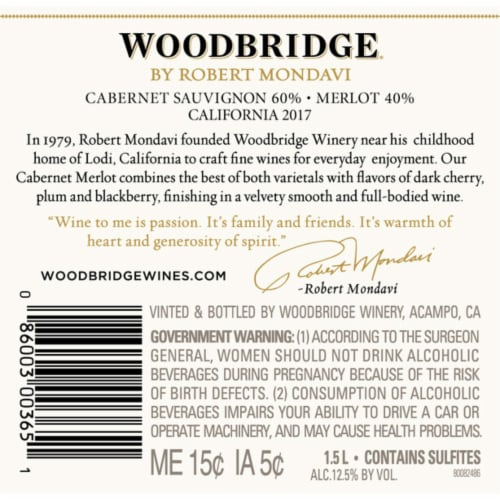 Woodbridge by Robert Mondavi Cabernet Sauvignon Merlot Red Wine Perspective: left