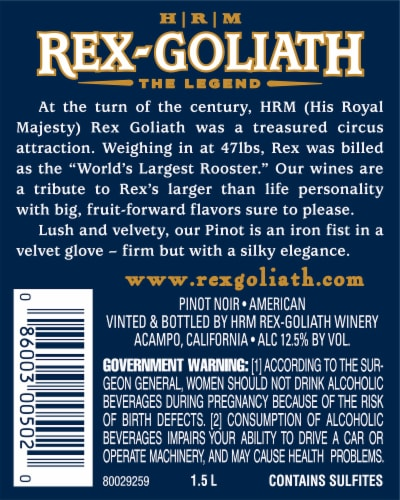 Rex-Goliath Pinot Noir Red Wine Perspective: left