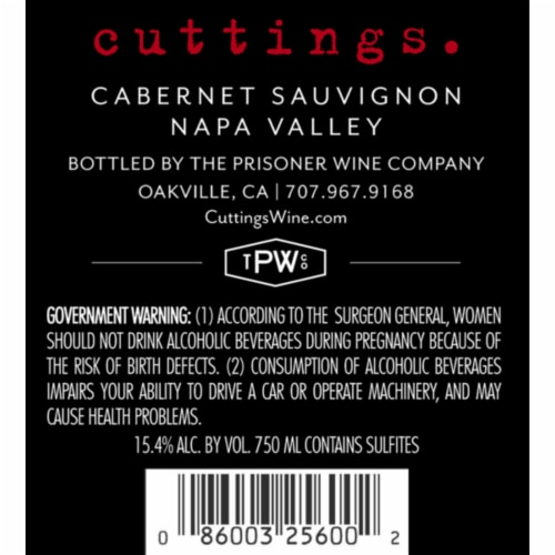The Prisoner Wine Co. Cuttings Cabernet Sauvignon Red Wine Perspective: left