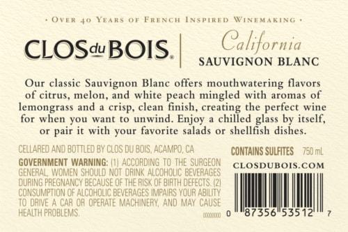 Clos du Bois Sauvignon Blanc White Wine Perspective: left