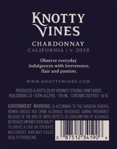 Knotty Vines Chardonnay White Wine Perspective: left