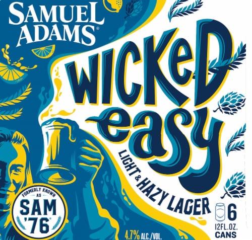 Samuel Adams Wicked Easy Light & Hazy Lager Perspective: left