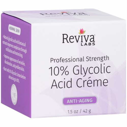 Reviva Labs 10% Glycolic Acid Anti-Aging Crème Perspective: left
