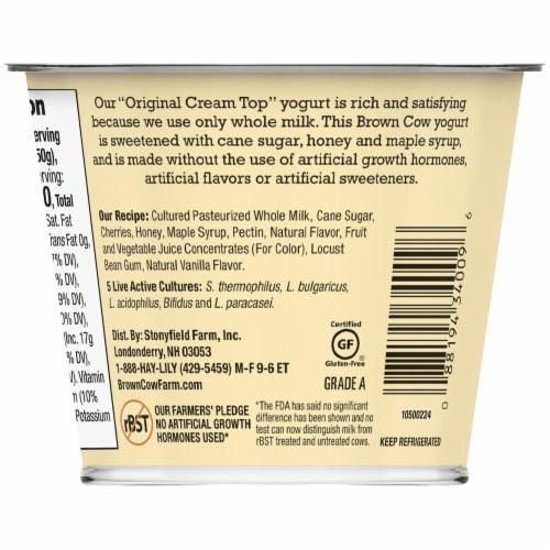 Brown Cow Cream Top Cherry Vanilla Whole Milk Yogurt Perspective: left