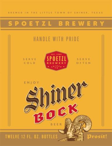 Shiner Bock Lager Beer Perspective: left