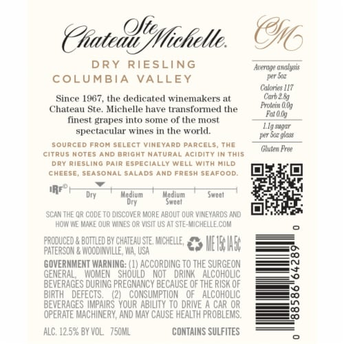 Chateau Ste Michelle Dry Riesling White Wine Perspective: left