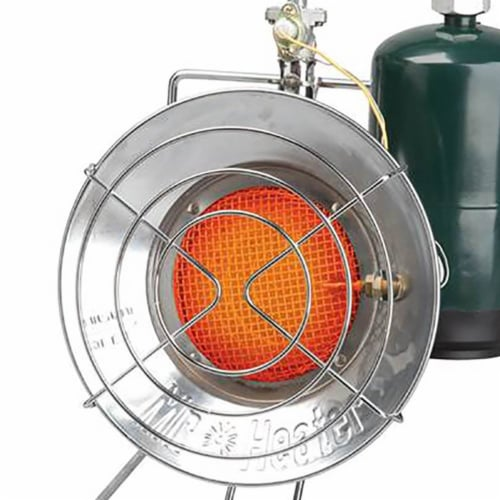 Mr. Heater MH-F242300 15,000 BTU Propane Gas Tank Top Outdoor Heater and Cooker Perspective: left