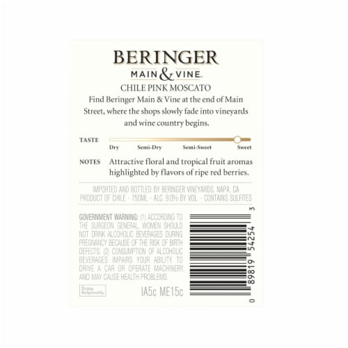 Beringer Main & Vine Pink Moscato Perspective: left