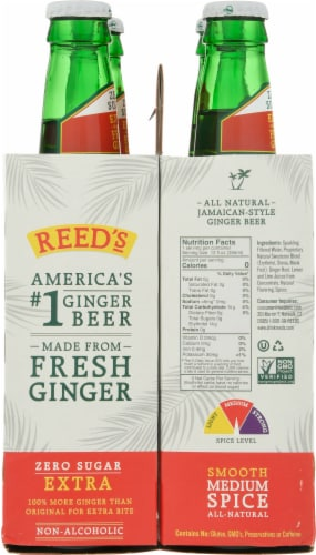 Reed's Zero Sugar Craft Ginger Beer Perspective: left