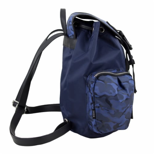Bodhi Microfiber Fashion Drawstring Flap Backpack - Navy Camo Perspective: left