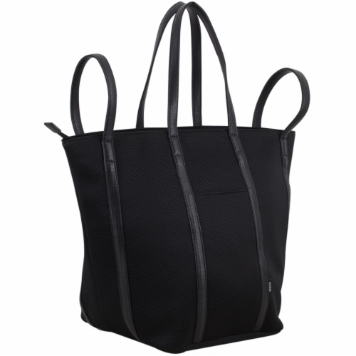 Bodhi Large Waffle Mesh Fashion Tote - Black Perspective: left