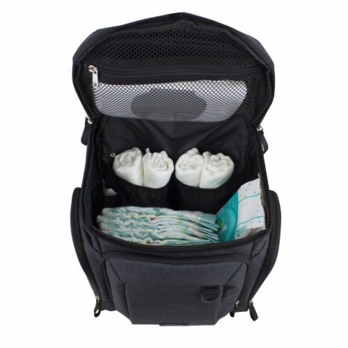 Bodhi Baby Wooster St. Diaper Backpack - Black Chambray Perspective: left