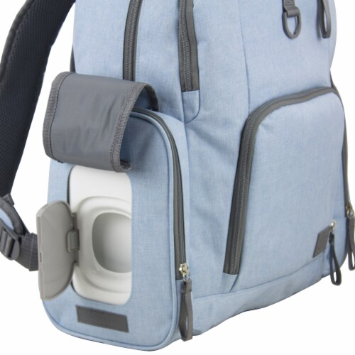 Bodhi Baby Bond Street Diaper Backpack - Light Blue Chambray Perspective: left