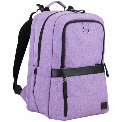 Bodhi Baby Rubin Weekender Tech Diaper Backpack - Purple Chambray Perspective: left